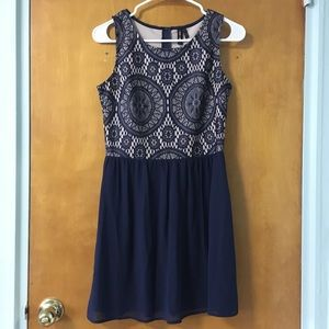 NWT Want and Need Navy Illusion Cocktail Dress